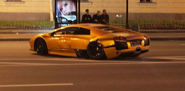 Lamborghini LP 640 accidentando en Rusia